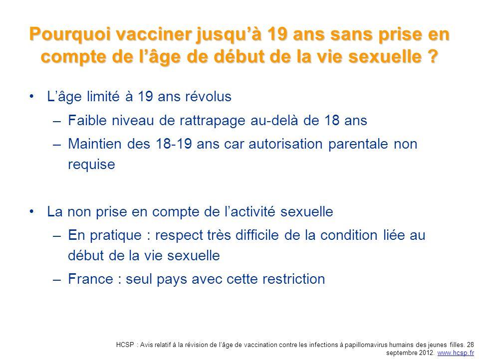 Pourquoi vacciner jusquà 19 ans sans prise en compte de lâge de début de la vie sexuelle .