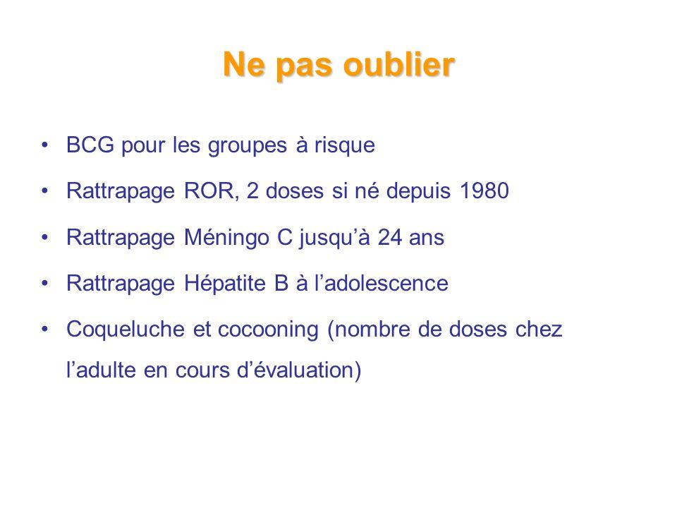 Ne pas oublier BCG pour les groupes à risque Rattrapage ROR, 2 doses si né depuis 1980 Rattrapage Méningo C jusquà 24 ans Rattrapage Hépatite B à ladolescence Coqueluche et cocooning (nombre de doses chez ladulte en cours dévaluation)