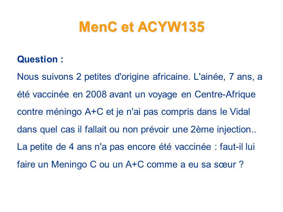 MenC et ACYW135 Question : Nous suivons 2 petites d origine africaine.