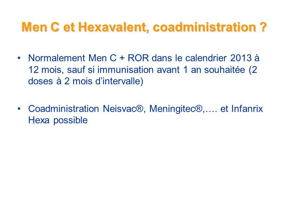 Men C et Hexavalent, coadministration .