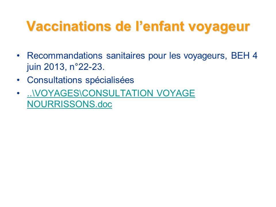 Vaccinations de lenfant voyageur Recommandations sanitaires pour les voyageurs, BEH 4 juin 2013, n°22-23.