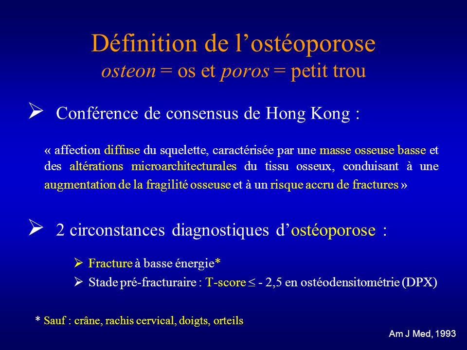 Définition de lostéoporose osteon = os et poros = petit trou Conférence de consensus de Hong Kong : « affection diffuse du squelette, caractérisée par