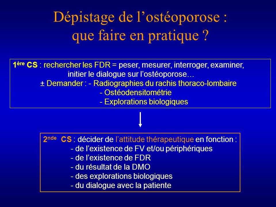 Dépistage de lostéoporose : que faire en pratique ? 1 ère CS : rechercher les FDR = peser, mesurer, interroger, examiner, initier le dialogue sur lost