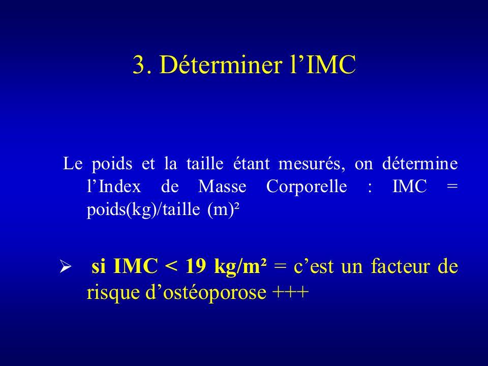 Le poids et la taille étant mesurés, on détermine lIndex de Masse Corporelle : IMC = poids(kg)/taille (m)² si IMC < 19 kg/m² = cest un facteur de risq