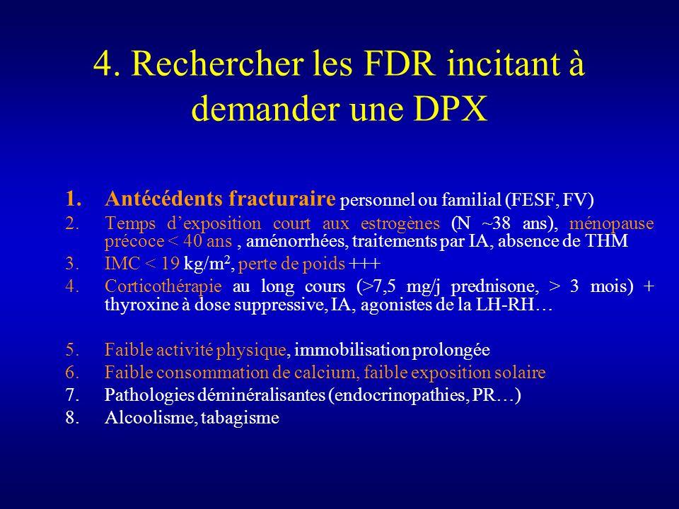4. Rechercher les FDR incitant à demander une DPX 1.Antécédents fracturaire personnel ou familial (FESF, FV) 2.Temps dexposition court aux estrogènes