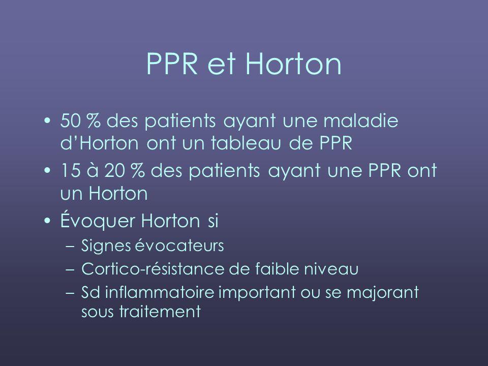 PPR et Horton 50 % des patients ayant une maladie dHorton ont un tableau de PPR 15 à 20 % des patients ayant une PPR ont un Horton Évoquer Horton si –