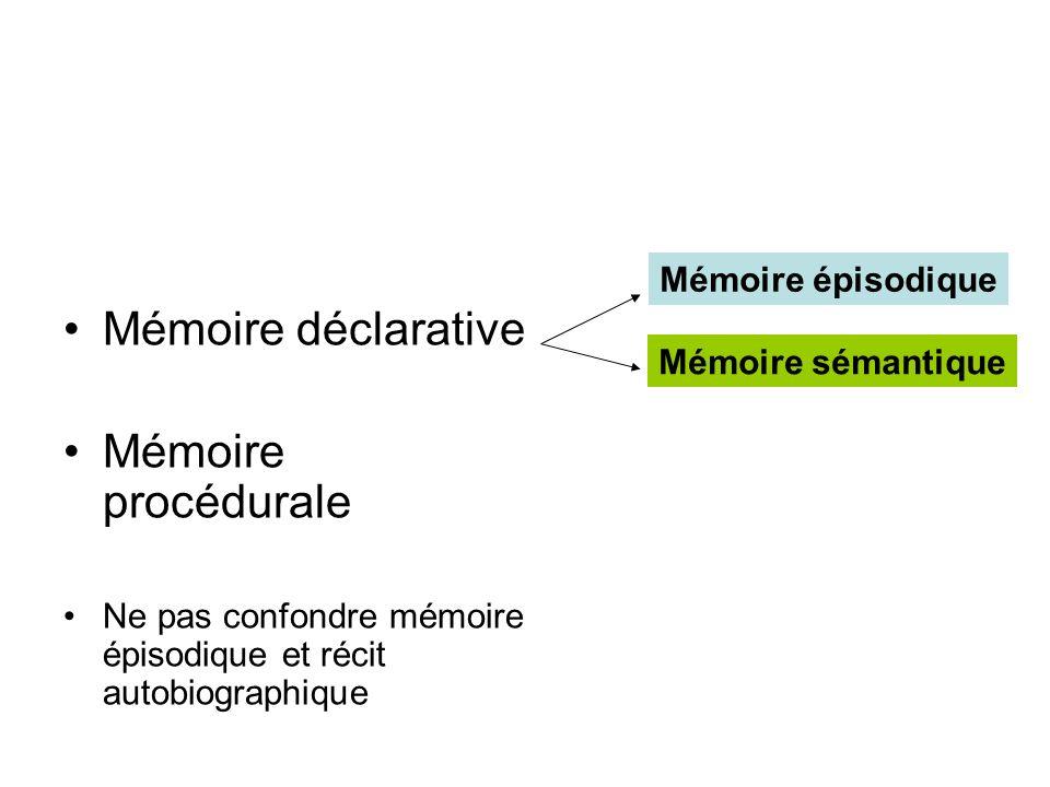 Mémoire déclarative Mémoire procédurale Ne pas confondre mémoire épisodique et récit autobiographique Mémoire épisodique Mémoire sémantique