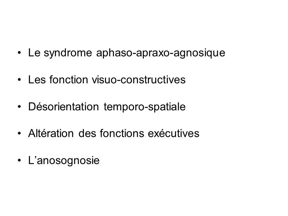 Le syndrome aphaso-apraxo-agnosique Les fonction visuo-constructives Désorientation temporo-spatiale Altération des fonctions exécutives Lanosognosie