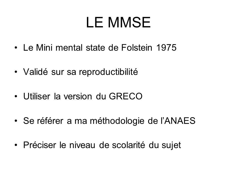 LE MMSE Le Mini mental state de Folstein 1975 Validé sur sa reproductibilité Utiliser la version du GRECO Se référer a ma méthodologie de lANAES Préci