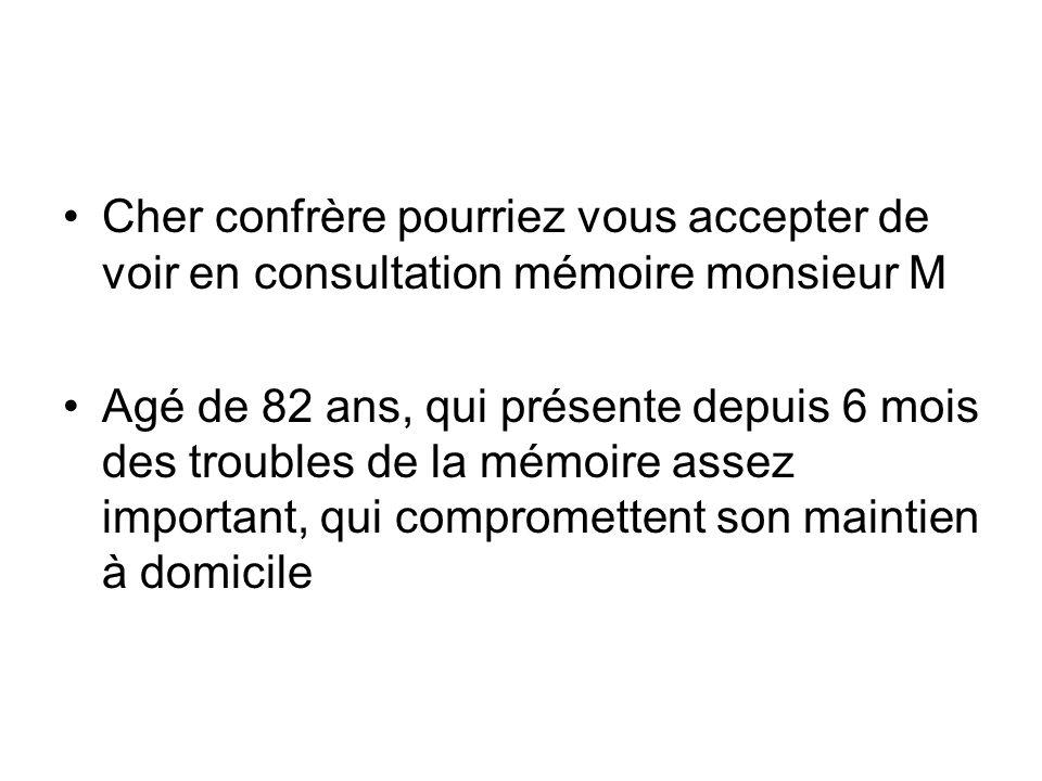 Cher confrère pourriez vous accepter de voir en consultation mémoire monsieur M Agé de 82 ans, qui présente depuis 6 mois des troubles de la mémoire a