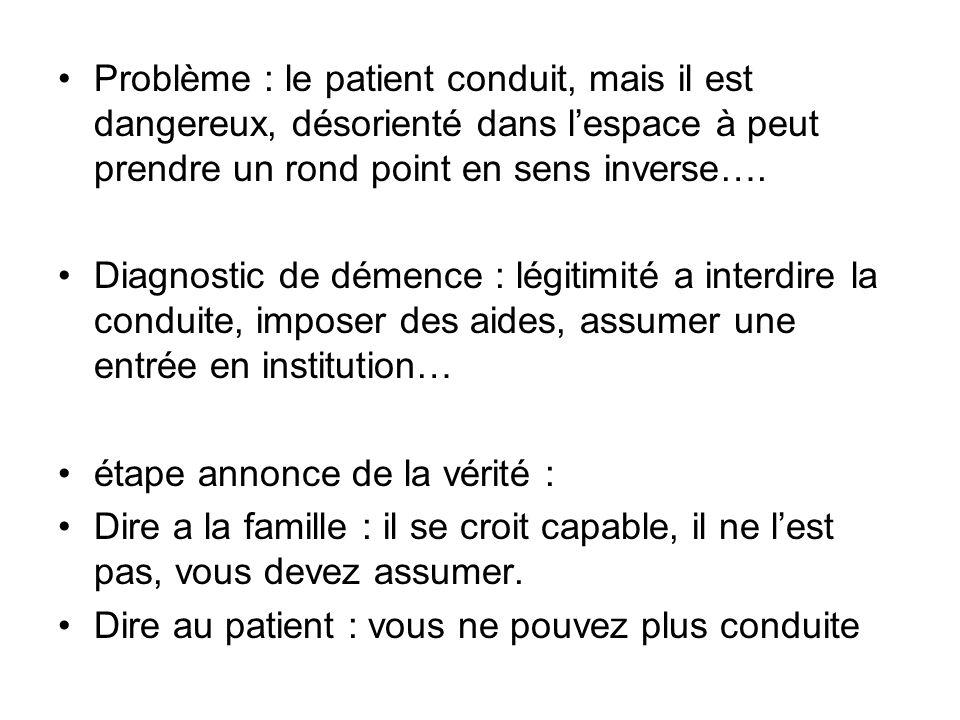 Problème : le patient conduit, mais il est dangereux, désorienté dans lespace à peut prendre un rond point en sens inverse…. Diagnostic de démence : l