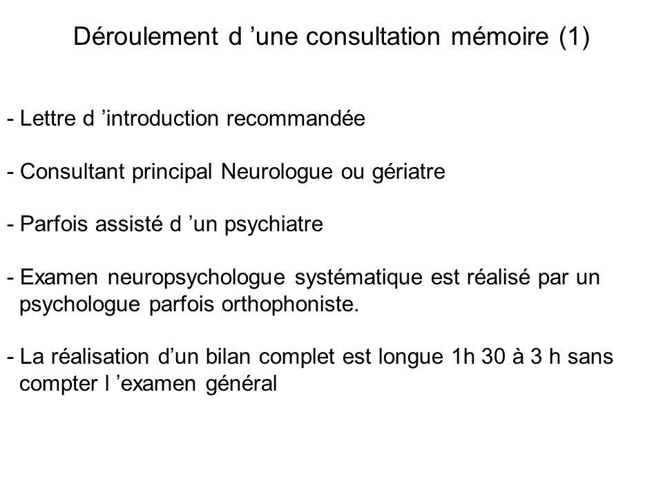 Déroulement d une consultation mémoire (1) - Lettre d introduction recommandée - Consultant principal Neurologue ou gériatre - Parfois assisté d un ps
