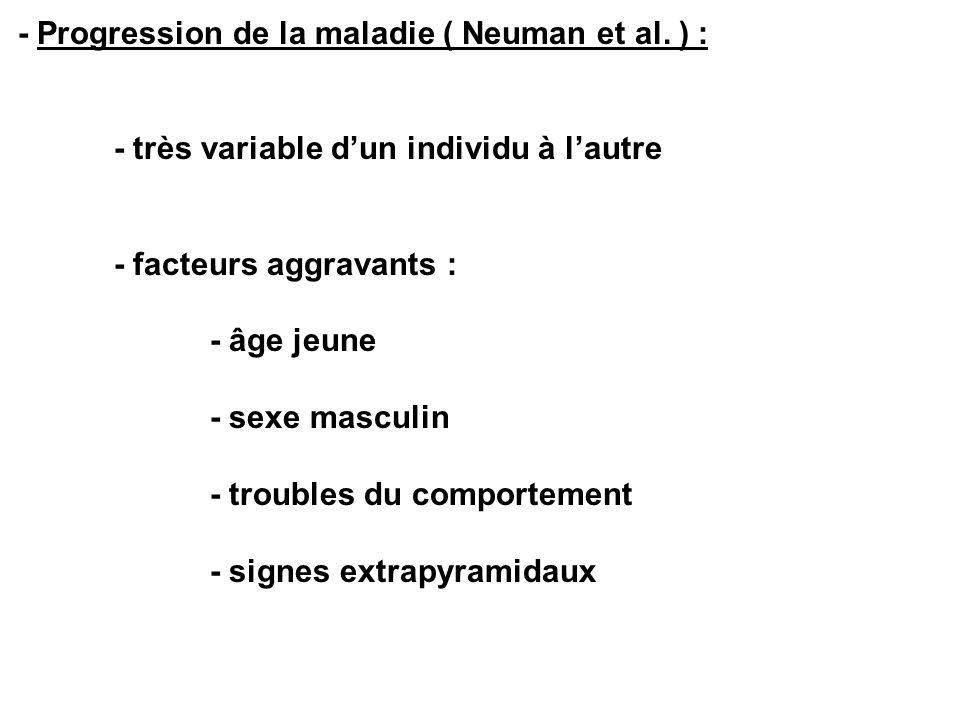 - Progression de la maladie ( Neuman et al. ) : - très variable dun individu à lautre - facteurs aggravants : - âge jeune - sexe masculin - troubles d