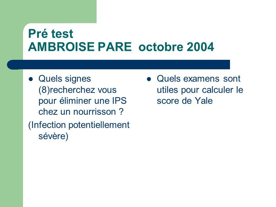 Pré test AMBROISE PARE octobre 2004 Quels signes (8)recherchez vous pour éliminer une IPS chez un nourrisson ? (Infection potentiellement sévère) Quel