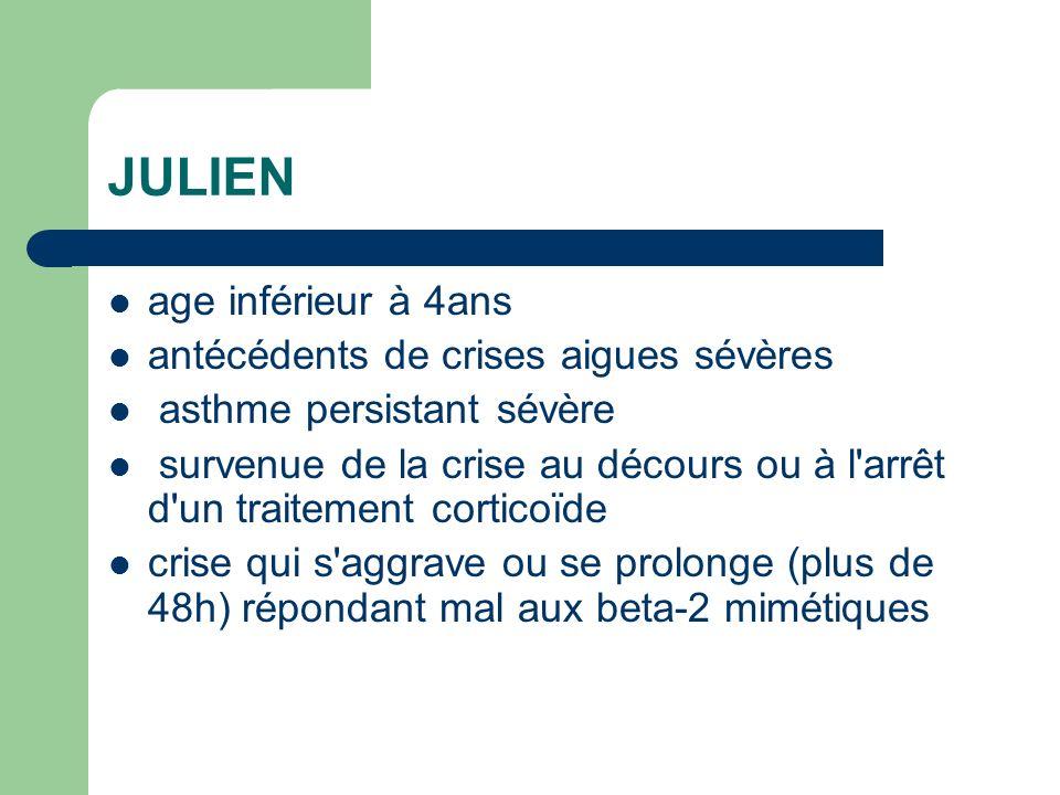 JULIEN age inférieur à 4ans antécédents de crises aigues sévères asthme persistant sévère survenue de la crise au décours ou à l'arrêt d'un traitement