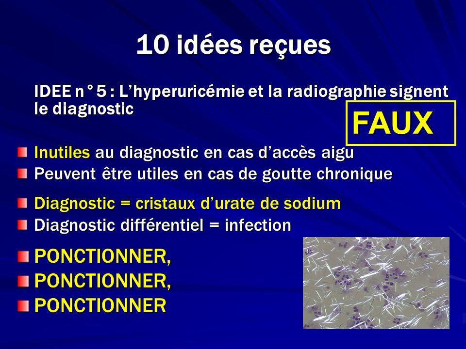 10 idées reçues IDEE n°5 : Lhyperuricémie et la radiographie signent le diagnostic Inutiles au diagnostic en cas daccès aigu Peuvent être utiles en ca