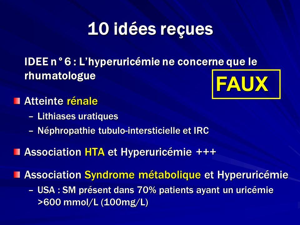 10 idées reçues IDEE n°6 : Lhyperuricémie ne concerne que le rhumatologue Atteinte rénale –Lithiases uratiques –Néphropathie tubulo-intersticielle et