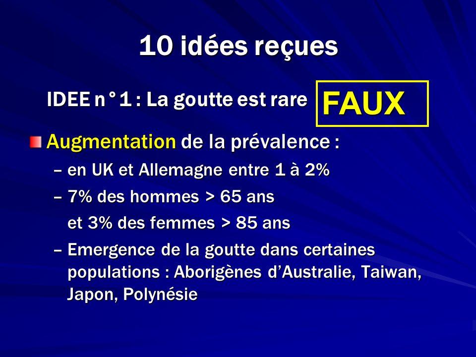 10 idées reçues IDEE n°1 : La goutte est rare Augmentation de la prévalence : –en UK et Allemagne entre 1 à 2% –7% des hommes > 65 ans et 3% des femme