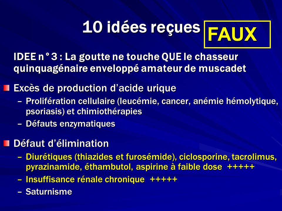 10 idées reçues IDEE n°10 : Goutte = allopurinol Selon les recommendations de lEULAR : –En cas de récidive goutteuse –Ou en cas de goutte sévère (arthropathie destructrice, tophus) Période de chevauchement (2-4 mois, voire plus) Dose à adapter à la créatinine Dose à adapter à luricémie (objectif <360µmol/L) Uricosuriques et uricolytiques Traitements du futur proche –Inhibiteur de la xanthine oxydase (febuxostat, ADENURIC*) –PEG-uricase (uricolytique) –Inhibiteur de lIL-1 VRAI MAIS