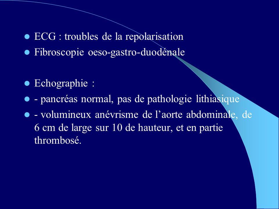 ECG : troubles de la repolarisation Fibroscopie oeso-gastro-duodénale Echographie : - pancréas normal, pas de pathologie lithiasique - volumineux anévrisme de laorte abdominale, de 6 cm de large sur 10 de hauteur, et en partie thrombosé.