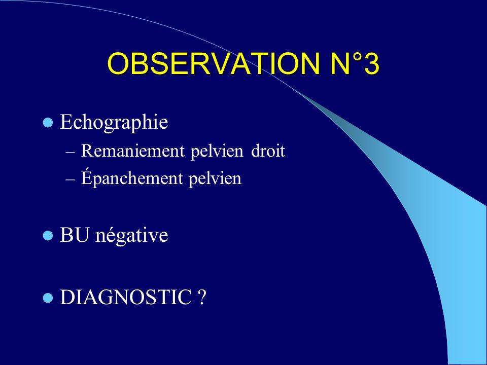 OBSERVATION N°3 Echographie – Remaniement pelvien droit – Épanchement pelvien BU négative DIAGNOSTIC ?