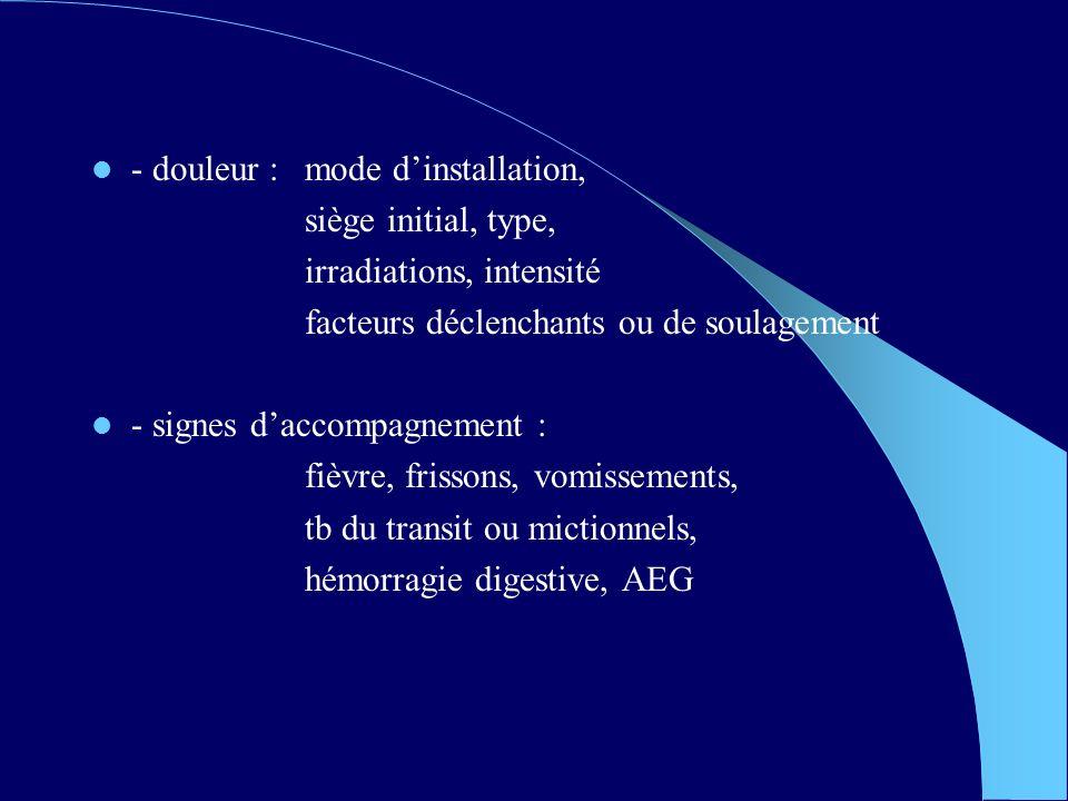 - douleur : mode dinstallation, siège initial, type, irradiations, intensité facteurs déclenchants ou de soulagement - signes daccompagnement : fièvre, frissons, vomissements, tb du transit ou mictionnels, hémorragie digestive, AEG