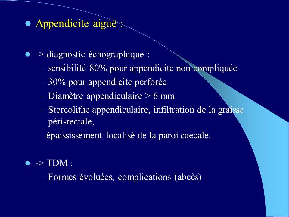 Appendicite aiguë : -> diagnostic échographique : – sensibilité 80% pour appendicite non compliquée – 30% pour appendicite perforée – Diamètre appendiculaire > 6 mm – Stercolithe appendiculaire, infiltration de la graisse péri-rectale, épaississement localisé de la paroi caecale.