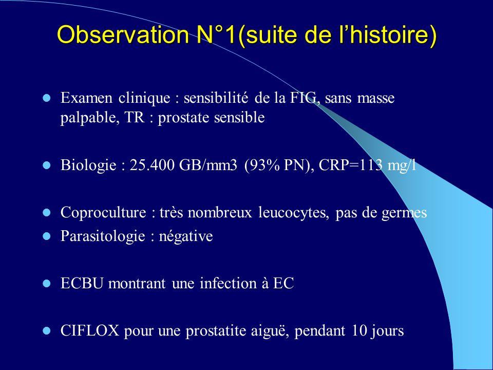 Observation N°1(suite de lhistoire) Examen clinique : sensibilité de la FIG, sans masse palpable, TR : prostate sensible Biologie : 25.400 GB/mm3 (93% PN), CRP=113 mg/l Coproculture : très nombreux leucocytes, pas de germes Parasitologie : négative ECBU montrant une infection à EC CIFLOX pour une prostatite aiguë, pendant 10 jours