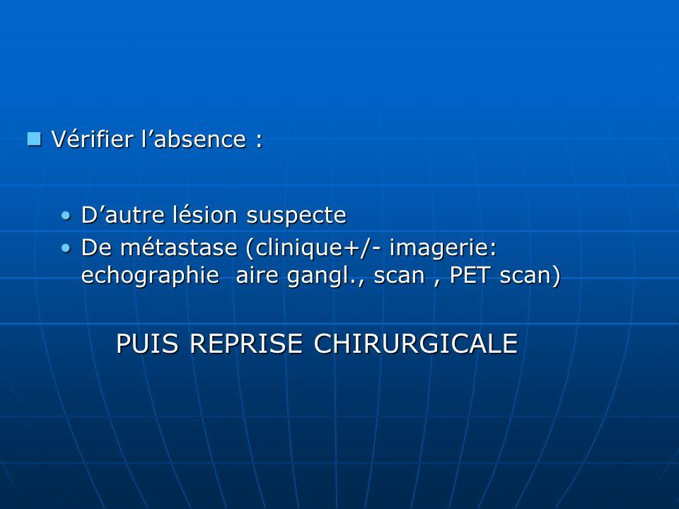 Vérifier labsence : Vérifier labsence : Dautre lésion suspecteDautre lésion suspecte De métastase (clinique+/- imagerie: echographie aire gangl., scan