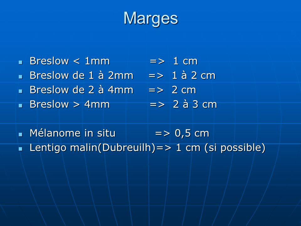 Marges Breslow 1 cm Breslow 1 cm Breslow de 1 à 2mm => 1 à 2 cm Breslow de 1 à 2mm => 1 à 2 cm Breslow de 2 à 4mm => 2 cm Breslow de 2 à 4mm => 2 cm B