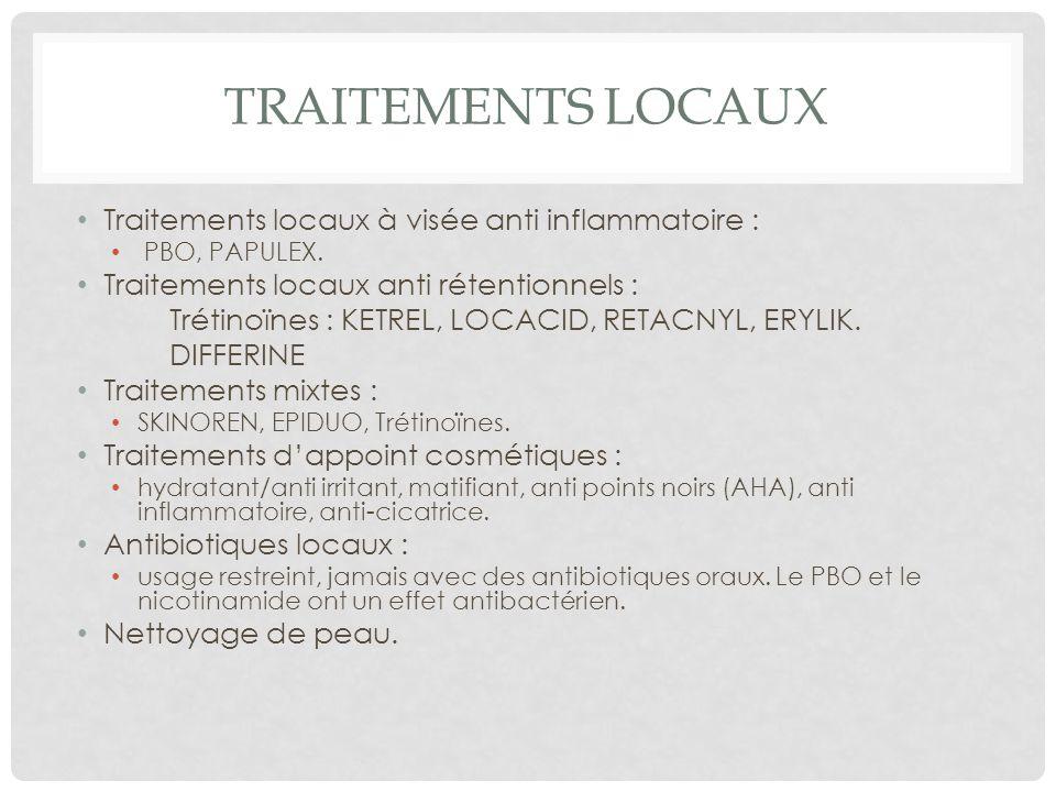 TRAITEMENTS LOCAUX Traitements locaux à visée anti inflammatoire : PBO, PAPULEX.
