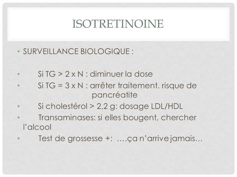 ISOTRETINOINE SURVEILLANCE BIOLOGIQUE : Si TG > 2 x N : diminuer la dose Si TG = 3 x N : arrêter traitement.