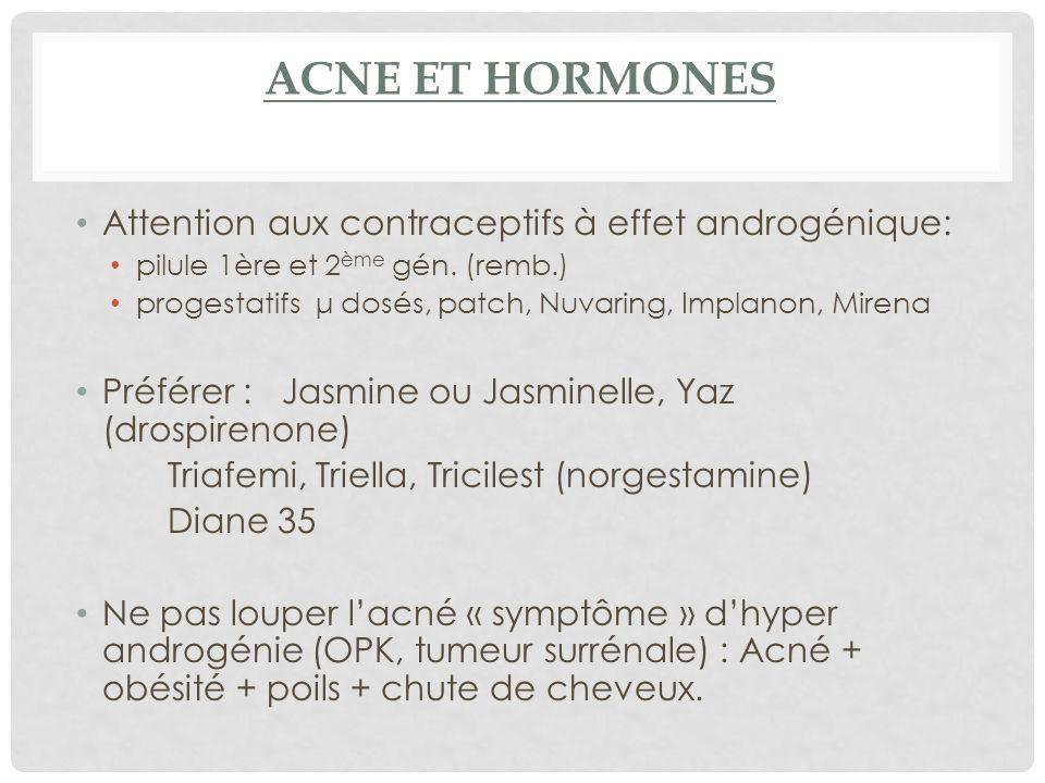 ACNE ET HORMONES Attention aux contraceptifs à effet androgénique: pilule 1ère et 2 ème gén.