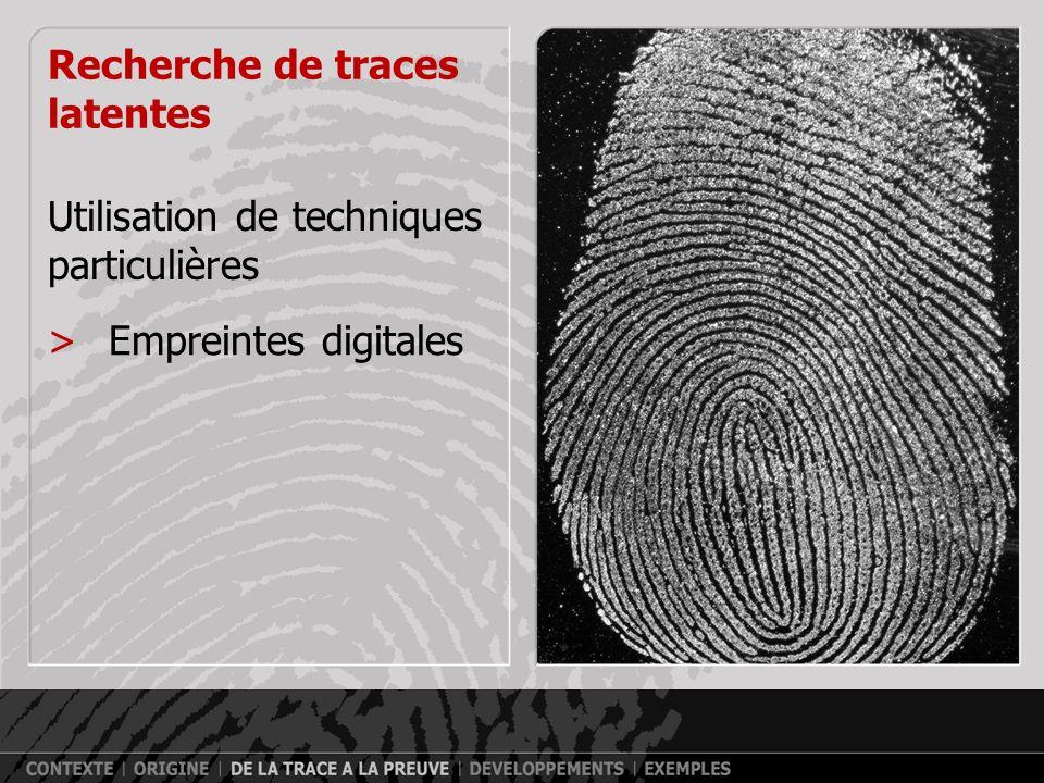 Recherche de traces visibles >Verre >Peinture >Fibres >Sang >…