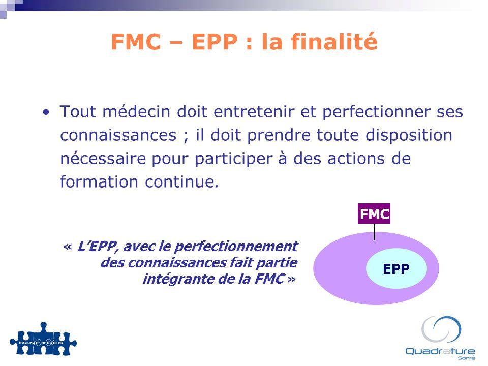 FMC – EPP : la finalité Tout médecin doit entretenir et perfectionner ses connaissances ; il doit prendre toute disposition nécessaire pour participer à des actions de formation continue.