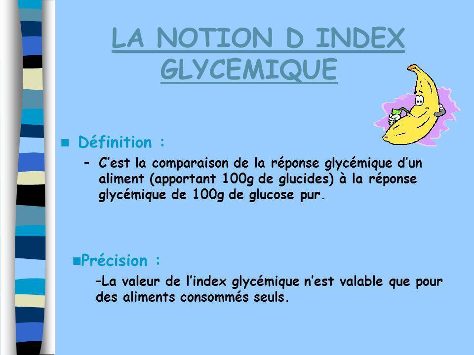 LA NOTION D INDEX GLYCEMIQUE Définition : –Cest la comparaison de la réponse glycémique dun aliment (apportant 100g de glucides) à la réponse glycémiq