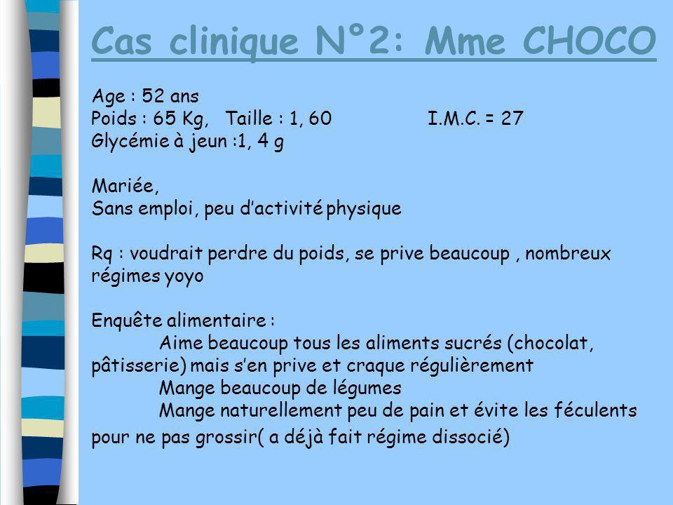 Cas clinique N°2: Mme CHOCO Age : 52 ans Poids : 65 Kg, Taille : 1, 60I.M.C. = 27 Glycémie à jeun :1, 4 g Mariée, Sans emploi, peu dactivité physique