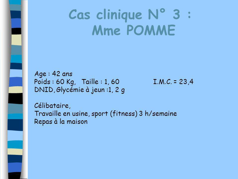 Cas clinique N° 3 : Mme POMME Age : 42 ans Poids : 60 Kg, Taille : 1, 60I.M.C. = 23,4 DNID, Glycémie à jeun :1, 2 g Célibataire, Travaille en usine, s