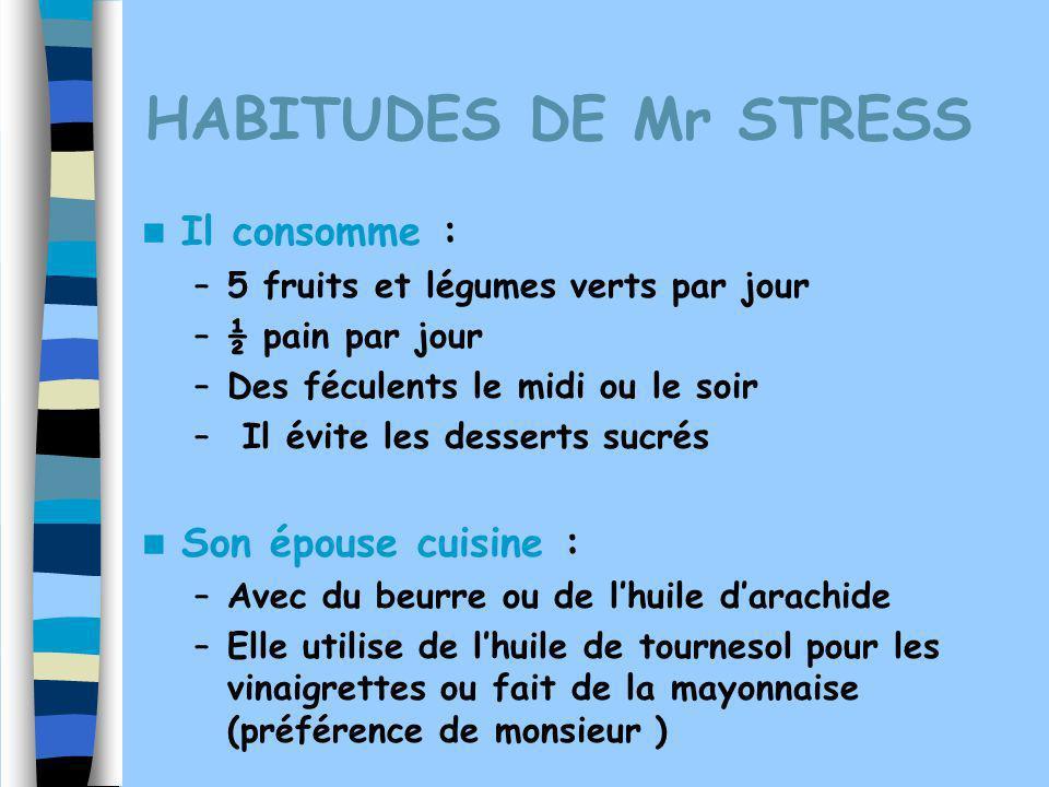HABITUDES DE Mr STRESS Il consomme : –5 fruits et légumes verts par jour –½ pain par jour –Des féculents le midi ou le soir – Il évite les desserts su