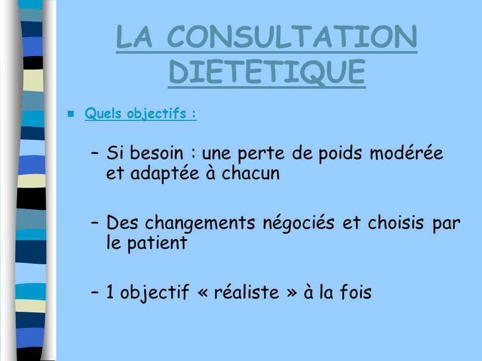 LA CONSULTATION DIETETIQUE Quels objectifs : –Si besoin : une perte de poids modérée et adaptée à chacun –Des changements négociés et choisis par le p