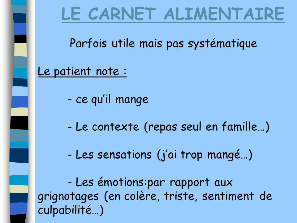 LE CARNET ALIMENTAIRE Parfois utile mais pas systématique Le patient note : - ce quil mange - Le contexte (repas seul en famille…) - Les sensations (j