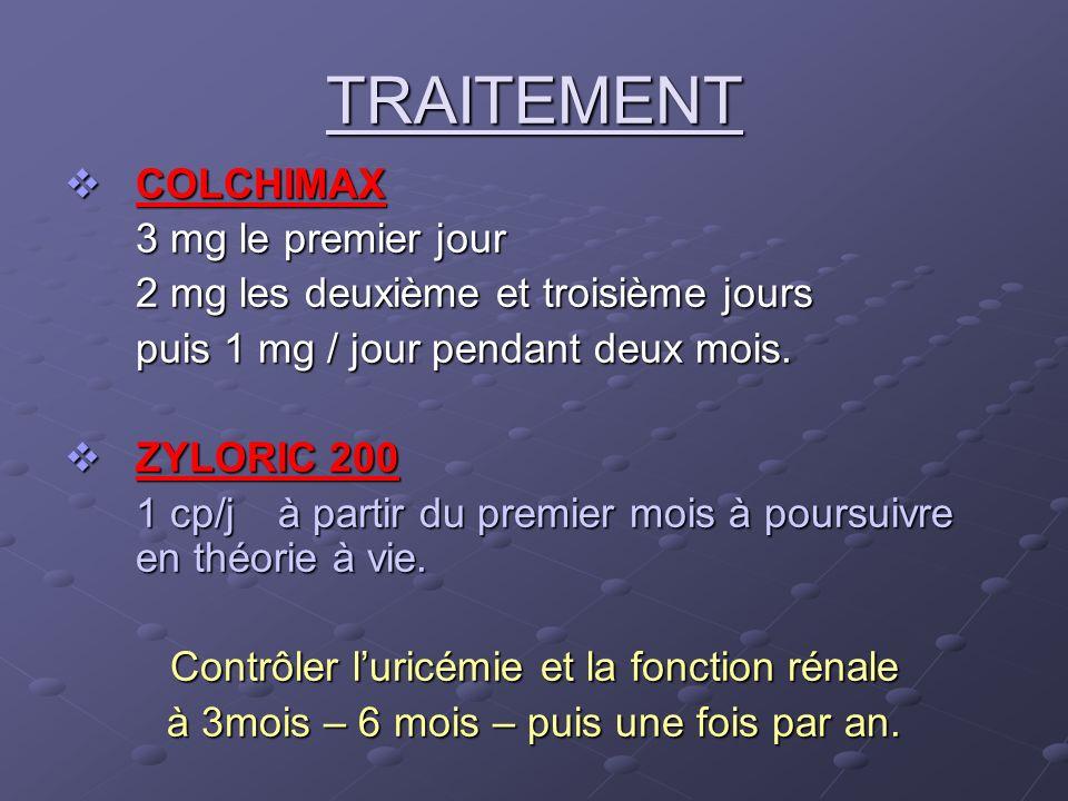 TRAITEMENT COLCHIMAX COLCHIMAX 3 mg le premier jour 2 mg les deuxième et troisième jours puis 1 mg / jour pendant deux mois. ZYLORIC 200 ZYLORIC 200 1