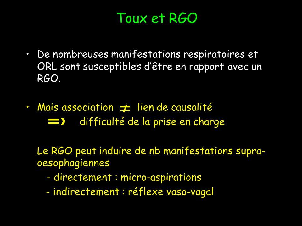 De nombreuses manifestations respiratoires et ORL sont susceptibles dêtre en rapport avec un RGO. Mais association lien de causalité difficulté de la