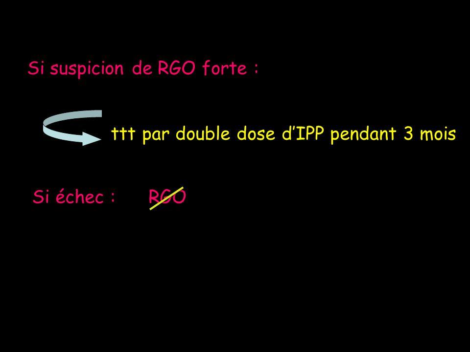 Si suspicion de RGO forte : ttt par double dose dIPP pendant 3 mois Si échec : RGO