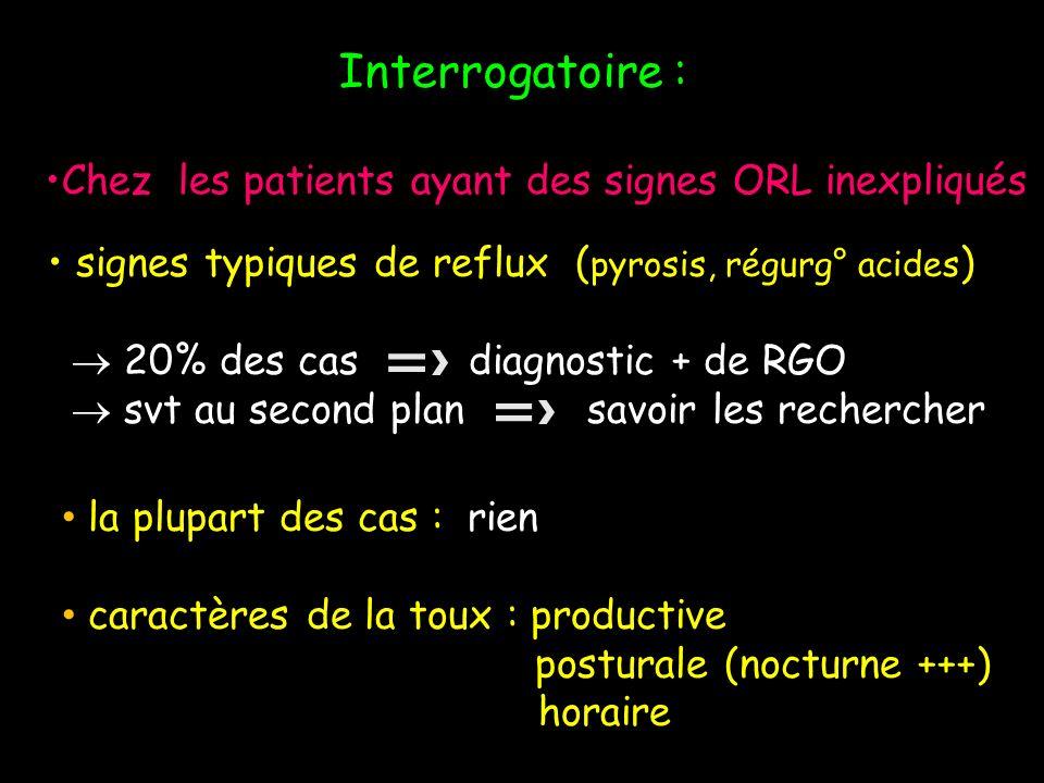 Interrogatoire : Chez les patients ayant des signes ORL inexpliqués signes typiques de reflux ( pyrosis, régurg° acides ) 20% des cas diagnostic + de