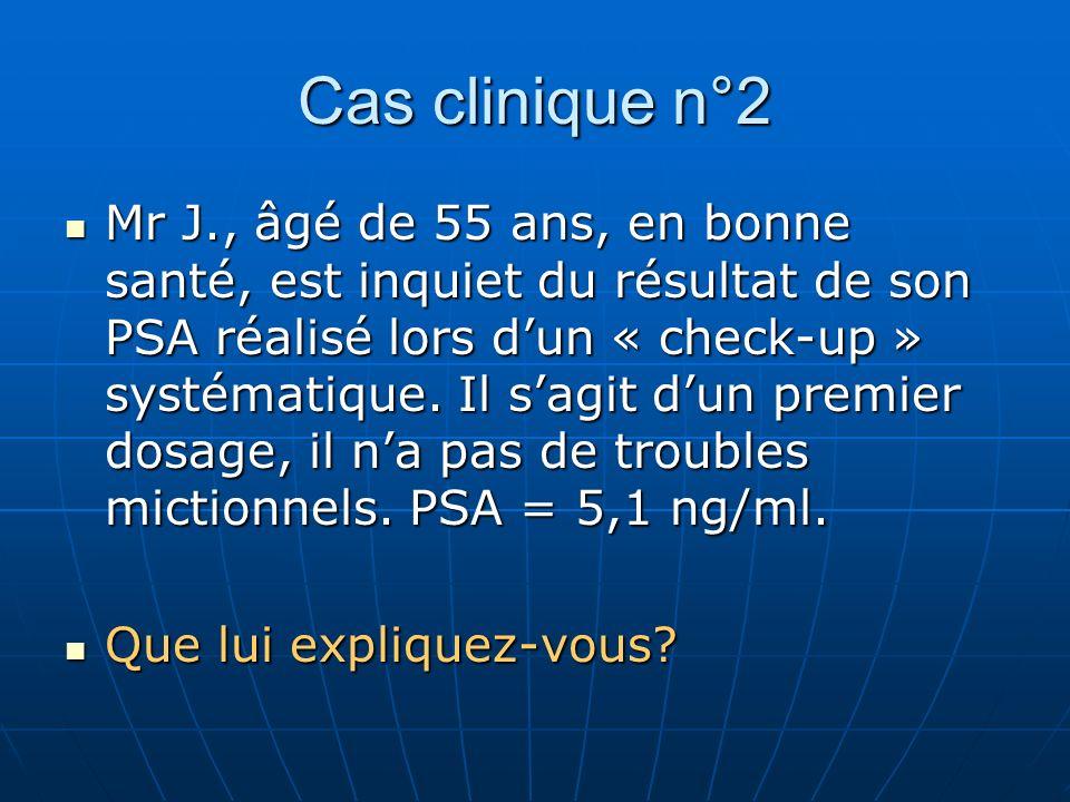 Cas clinique n°2 Mr J., âgé de 55 ans, en bonne santé, est inquiet du résultat de son PSA réalisé lors dun « check-up » systématique.