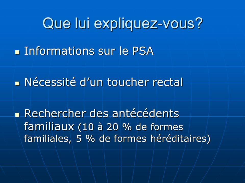 Que lui expliquez-vous? Informations sur le PSA Informations sur le PSA Nécessité dun toucher rectal Nécessité dun toucher rectal Rechercher des antéc