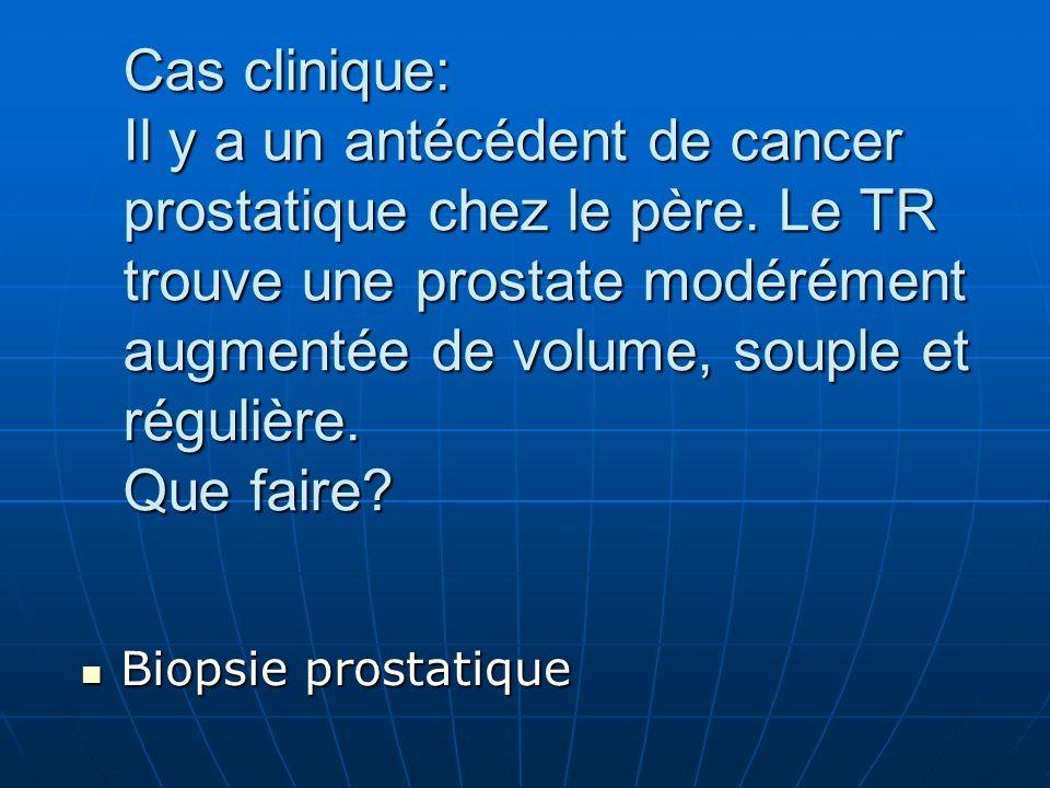Cas clinique: Il y a un antécédent de cancer prostatique chez le père.