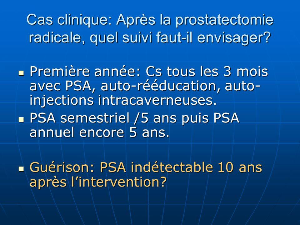 Cas clinique: Après la prostatectomie radicale, quel suivi faut-il envisager? Première année: Cs tous les 3 mois avec PSA, auto-rééducation, auto- inj