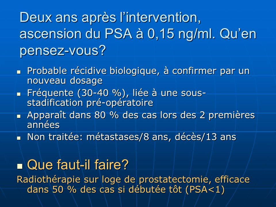 Deux ans après lintervention, ascension du PSA à 0,15 ng/ml.